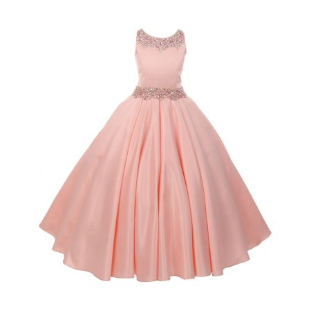 Little Girls Blush Shimmery Beaded Pleated Dull Satin Flower Girl Dress