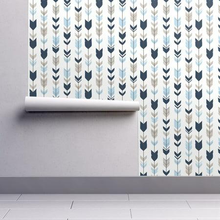 Wallpaper Roll or Sample: Arrows Feathers Navy Blue Tan White (Tan Herringbone)