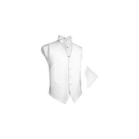 White Faille Silk Tuxedo Vest with Bowtie & Pocket Square (Faille Silk)