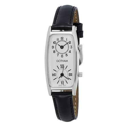 Women's Silver-Tone Dual Time Zone Leather Strap Quartz Watch