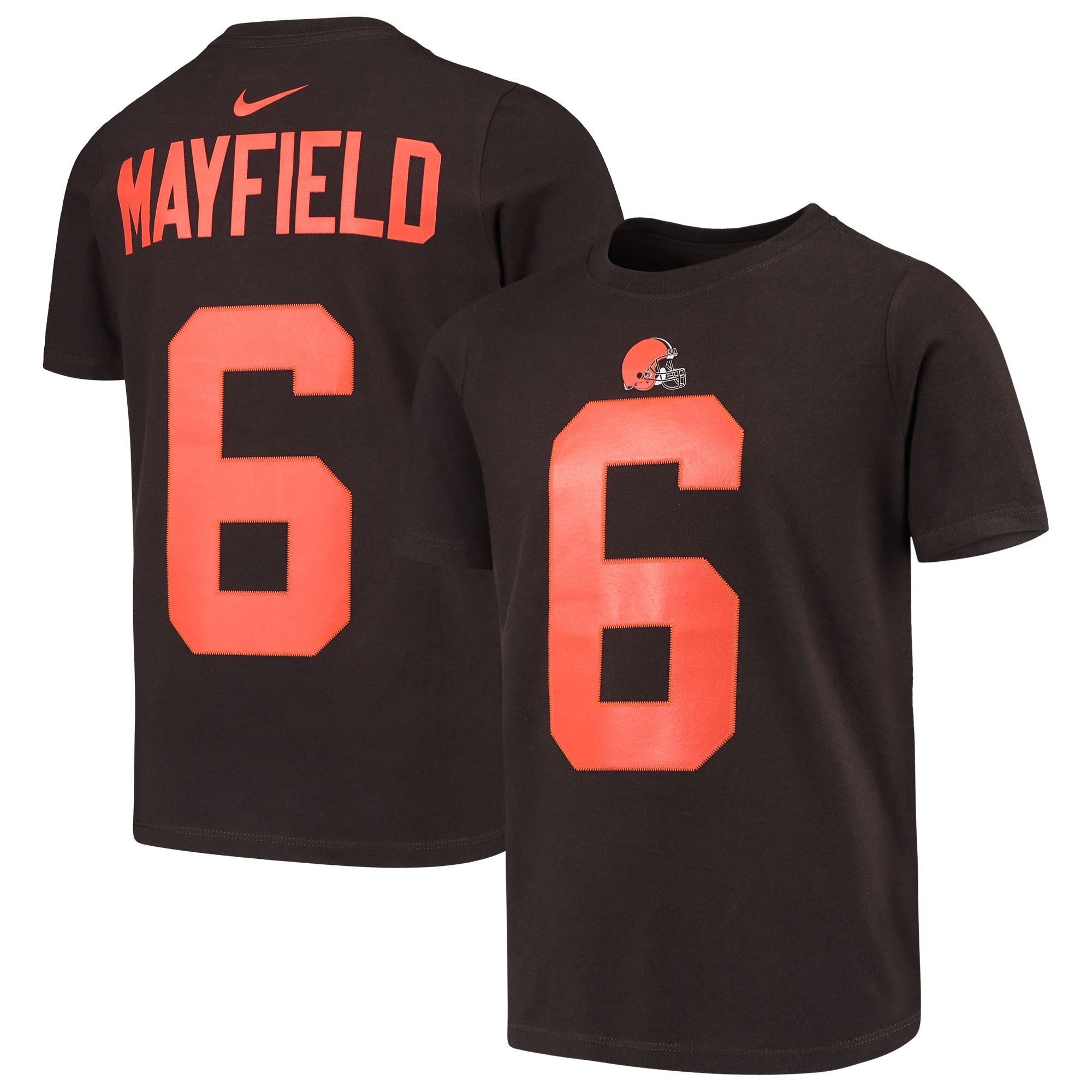 new concept ac5b0 c5fa6 Baker Mayfield Cleveland Browns Nike Youth Color Rush Player Name & Number  Performance T-Shirt - Brown