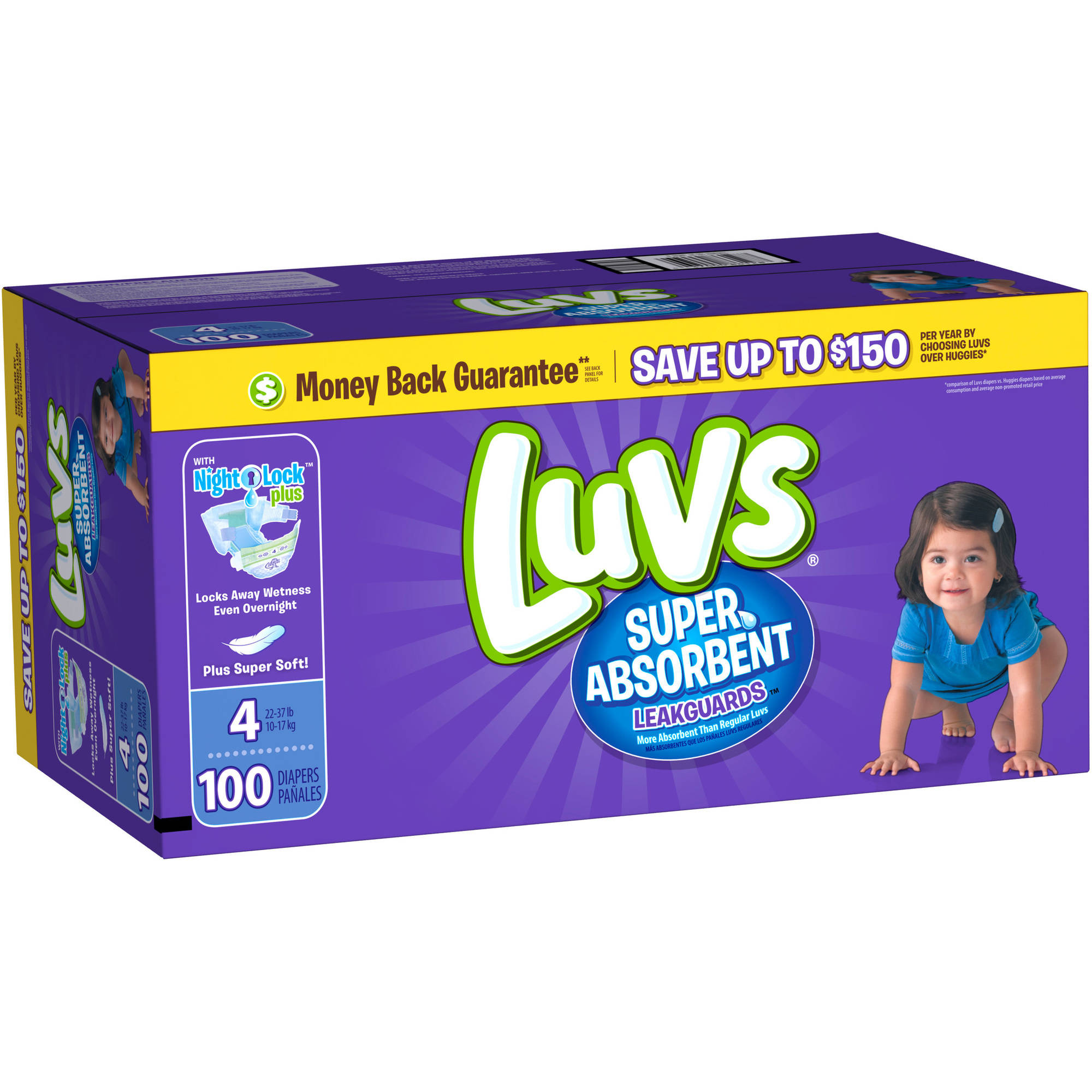 Luvs Super Absorbent Leakguards Diapers, Size 4 (Choose Diaper Count)