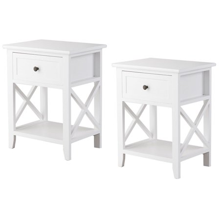 Costway 2PCS End Bedside Table Nightstand Drawer Storage Room Decor W/Bottom Shelf White (Base End Shelf)