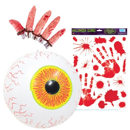 Bloody Hands (Beistle Inflatable Eyeball with Bloody Handprint Clings and Beistle 5-Pack Bloody)