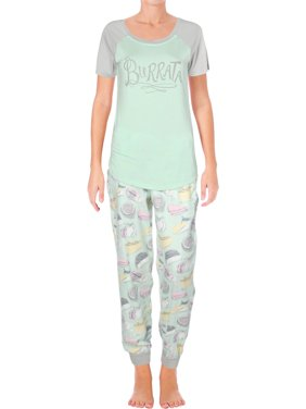Munki Munki Womens Fancy Cheese Flannel Jogger Pajama Set