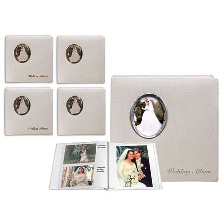 2-Pack Pioneer Oval Framed Wedding Album, Moire Fabric Cover with Silver Photo Frame, Holds 100 5x7