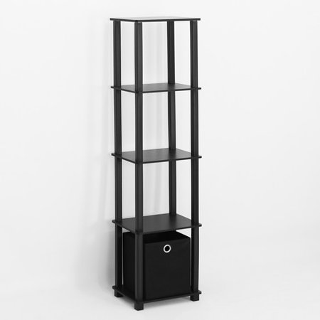Furinno TNT No Tools 5-Tier Display Decorative Shelf with 1 Bin, Black
