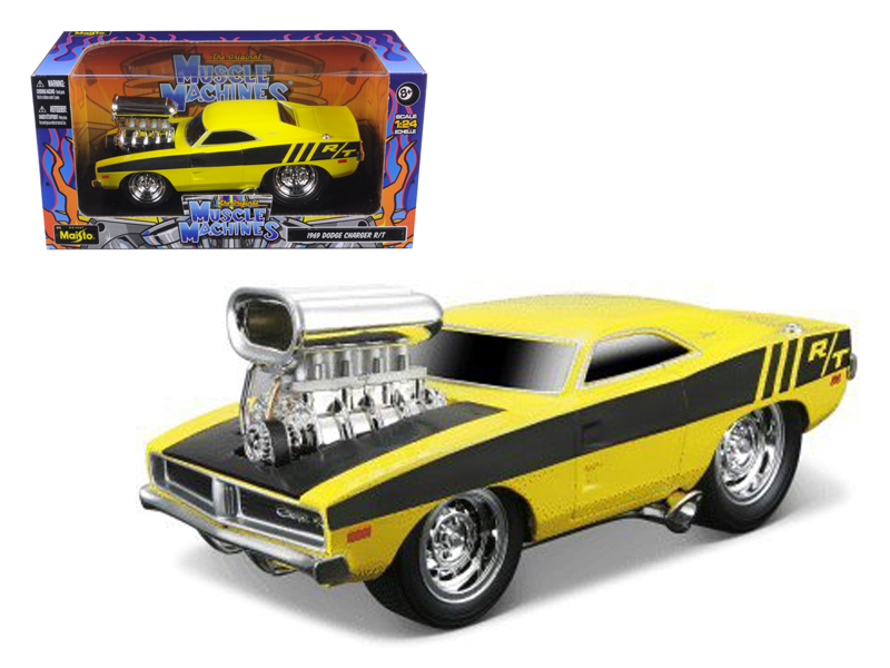 "1969 Dodge Charger R T Hemi Yellow Gasser Muscle Machines"" 1 24 Diecast Model Car by... by Diecast Dropshipper"