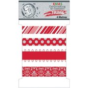 Fundamentals Trims 4 Meters/Pkg (4.37 Yards)-Christmas Red 4 Styles/1 Meter Each Multi-Colored