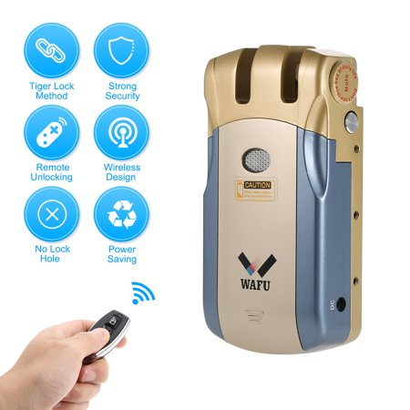 WAFU WF-018 Wireless Remote Control Lock Security Invisible Keyless Door Entry Intelligent Lock Zinc Alloy Metal with 4 Remote Keys Smart Home Villa Office Access Control Security System