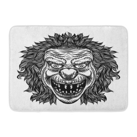 GODPOK Aggression Black Creepy Evil Scary Clown Monster with Big Nose and Sharp Teeth Horror Cartoon White Adult Rug Doormat Bath Mat 23.6x15.7 inch - Scary Clown Black And White