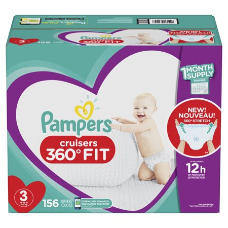 Pampers Cruisers 360˚ Fit Diapers Size 3, 156 Count