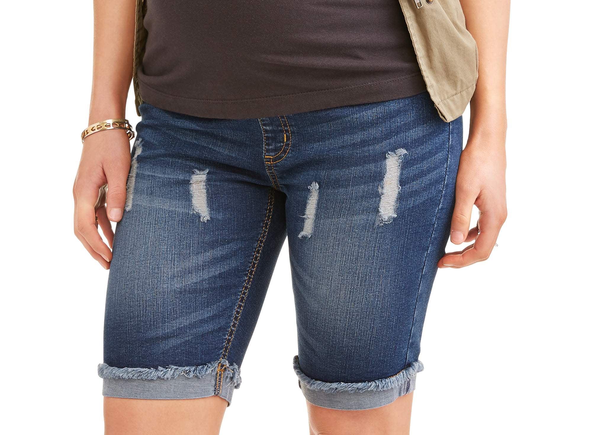 Maternity Distressed Bermuda Jean Shorts by Generic