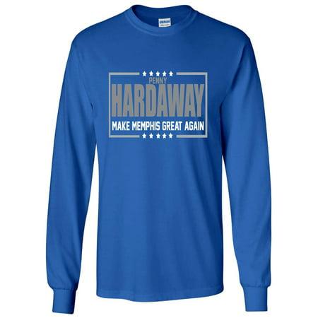 LONG SLEEVE BLUE Penny Hardaway Memphis Tigers 2018 T-Shirt (Marble Blue Tiger)