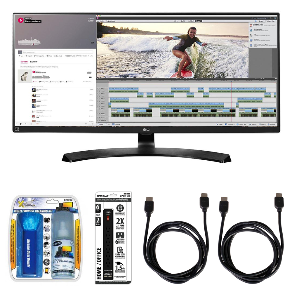 "LG 21:9 UltraWide WQHD IPS LED 34"" Monitor (34UM88) with Xtreme Performance TV/LCD Screen Cleaning Kit, Xtreme 6 Outlet Power Strip & 2x General Brand HDMI to HDMI Cable 6'"