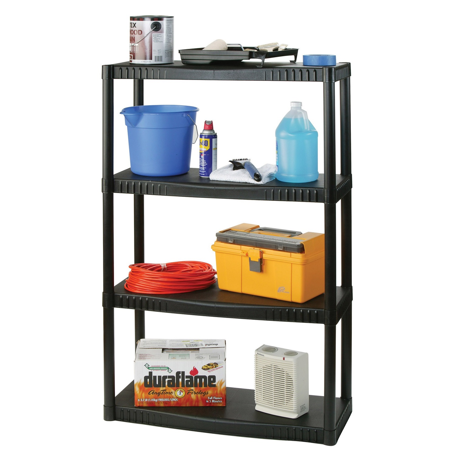 "Plano Molding 4 Shelf Shelving Unit  34.25""x 14.5"" - Black"