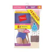 Cotton Brief Panties, 6+2 Bonus Pack - Walmart.com