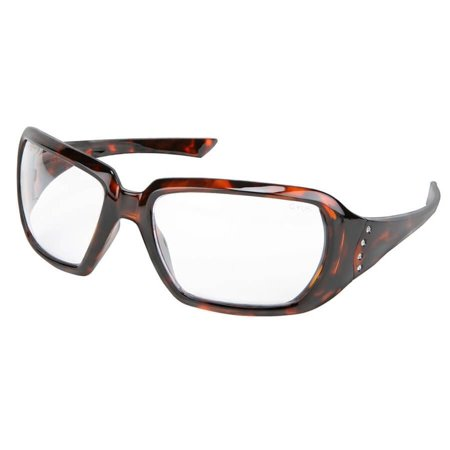 Crews 2 Women's Safety Glasses with Tortoise Frame and Clear - Clear Lens Glasses
