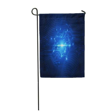LADDKE Blue Circuit Abstract Future Technology Network Power Signal Social Garden Flag Decorative Flag House Banner 12x18 inch ()
