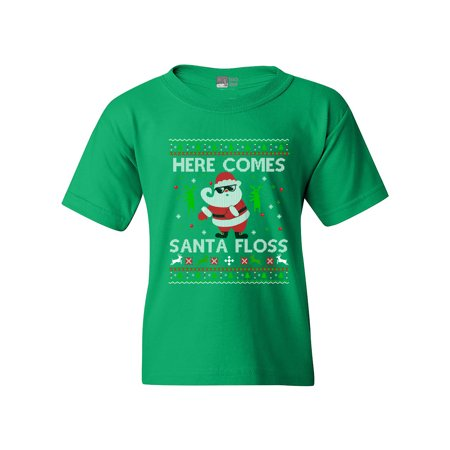 Here Comes Santa Floss Dance Christmas Funny DT Youth Kids T-Shirt Tee - Santa Clothes For Kids