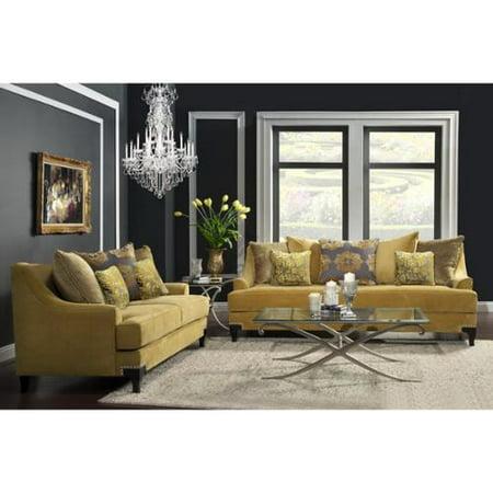 Furniture of America Visconti Modern 2-piece Velvet Sofa and Loveseat Set  by FOA