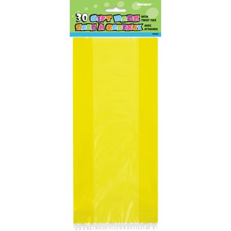 Plastic Cellophane Bags, 11 x 5 in, Yellow, - Yellow Bags