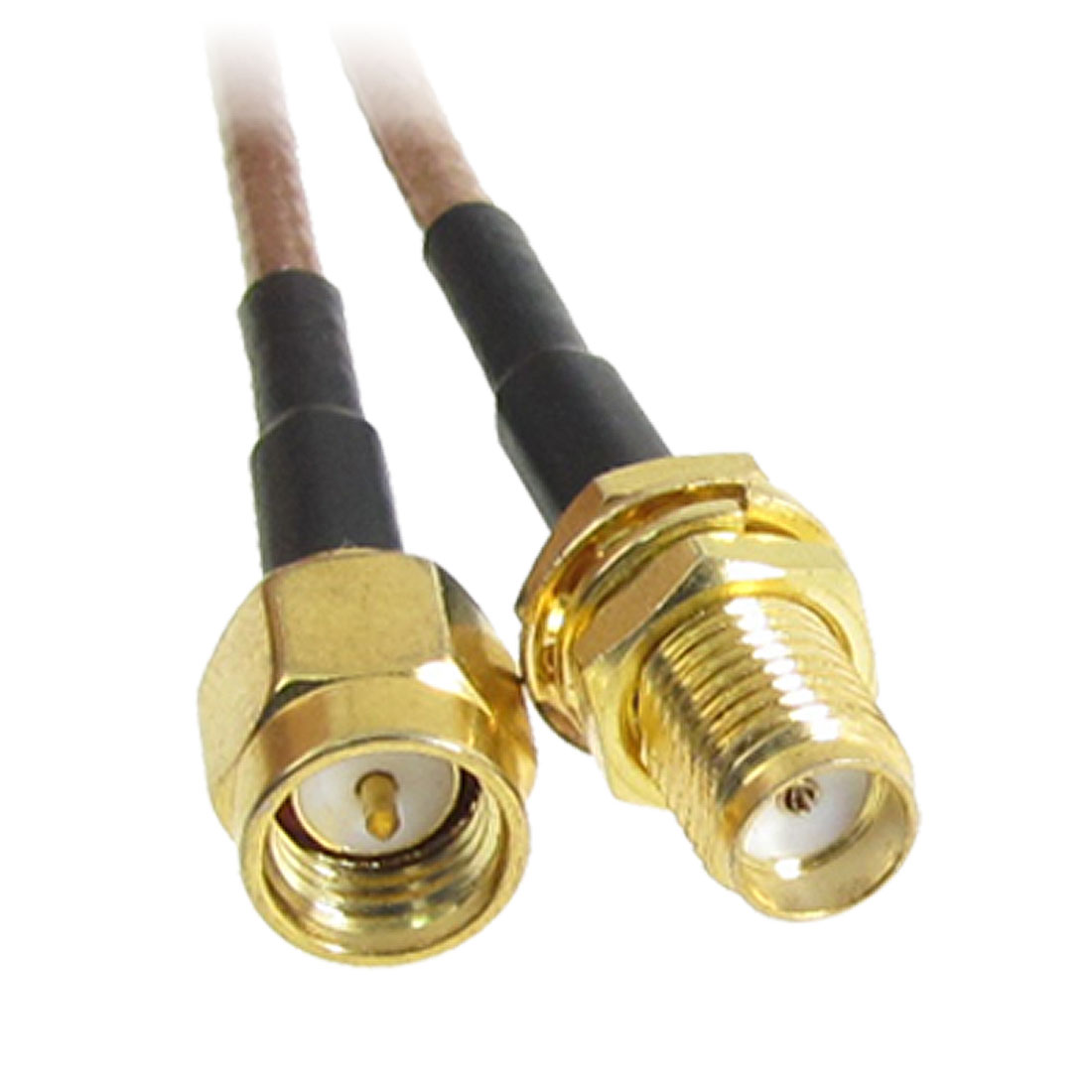 "12.4"" Gold Tone SMA Male Plug to Female RF Connector Adapter pigtail Cable"