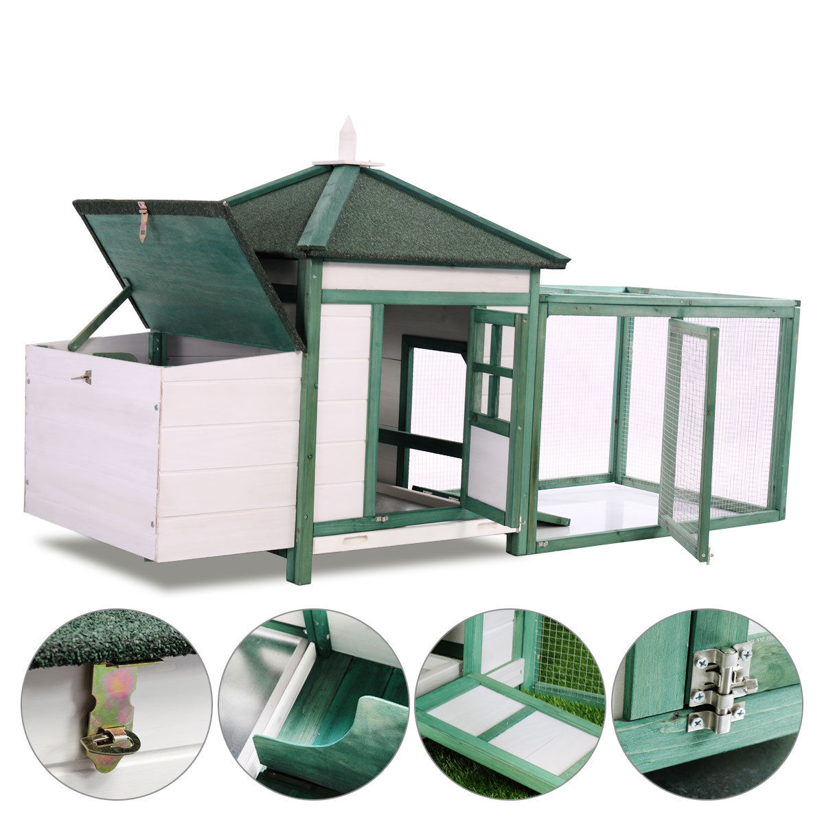 "Jaxpety Deluxe Hen House 77"" Wooden Chicken Coop Poultry Cage Hutch Outdoor Run"