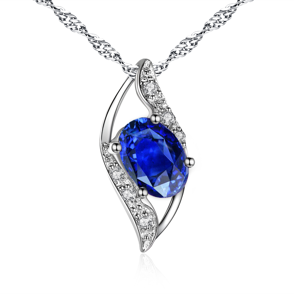 MABELLA Women Sterling Silver Lab Created Blue Sapphire 0...
