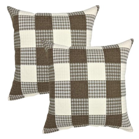 - Tayyakoushi Daily Decorations Sofa Cushion Covers Zippered Retro Farmhouse Tartan Plaid Cotton Linen Square Decorative Throw Pillow Case Pillowcase 18 x 18 Inch, Set of 2 (Brown/New Checker)