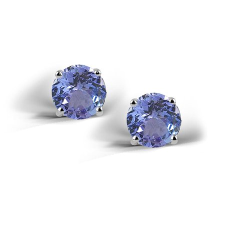 Sterling Silver 2ct Simulated Tanzanite Stud Earrings, 6mm 2ct Tw Stud Earrings