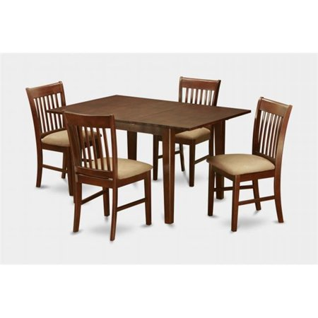 East West Furniture MLNO5-MAH-C 5PC Set with Rectangular 36 x 54 Table with 12 in butterfly leaf and 4 Cushioned seat chairs