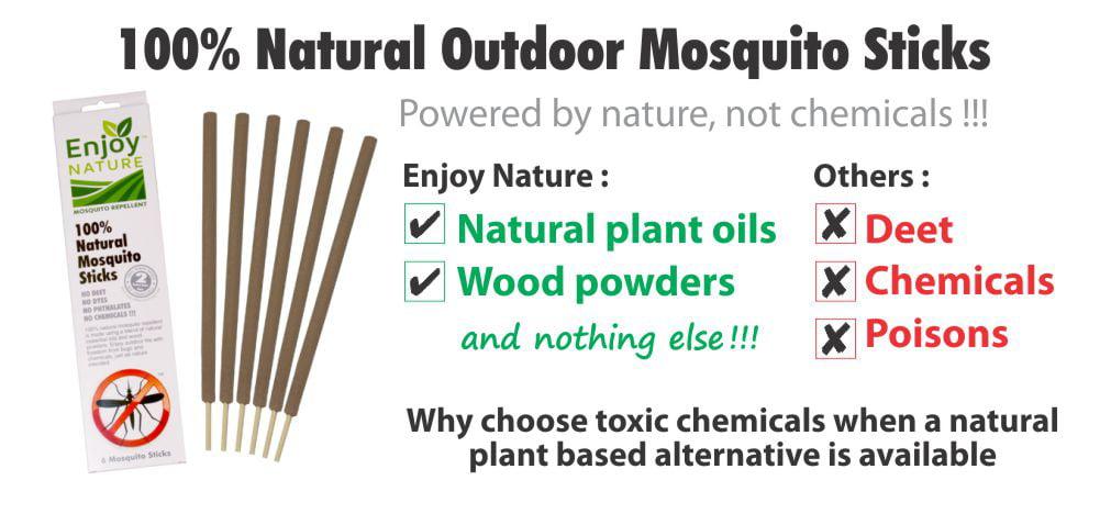 100/% naturel Outdoor Moustique Stick Biodégradable antiparasitaire insectifuge 6 ct