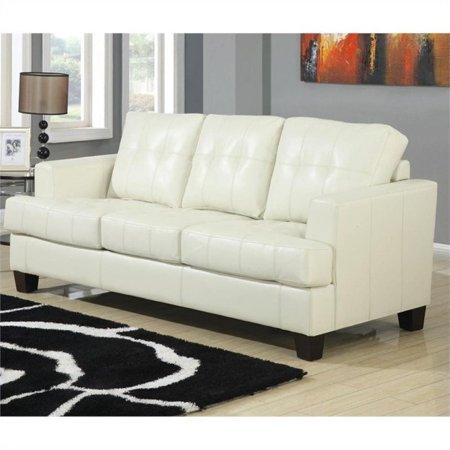 Bowery Hill Leather Sleeper Sofa in Cream (Cream Leather Sofa)