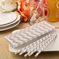 80 'Perfect Plain' collection Matte Silver and white stripe design paper straws