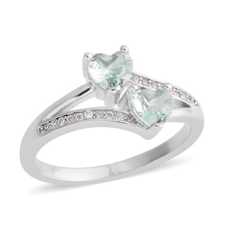Green Cubic Zirconia Silvertone CZ Love Heart Valentines Statement Ring for Women Cttw (Green Cubic Zirconia Heart)