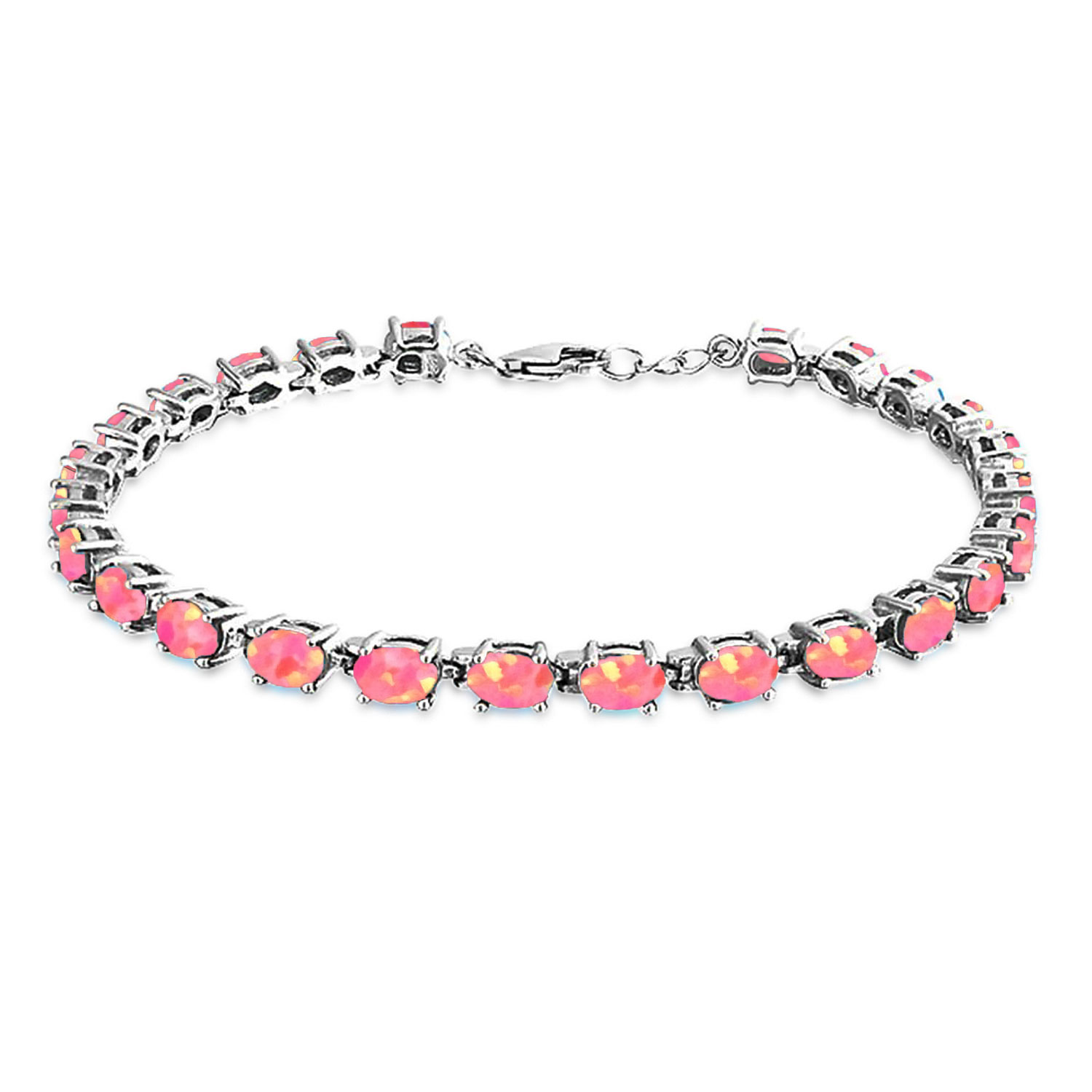 Bling Jewelry 925 Silver Synthetic Pink Opal Oval Tennis Bracelet 7.5in by Bling Jewelry