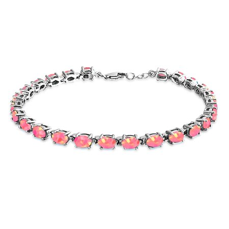 Simple Tennis Bracelet For Women For Girlfriend Pink Oval Created Opal 925 Sterling Silver October Birthstone Created Pink Opal Bracelet