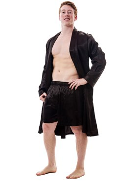 Up2date Fashion's Men's Satin Robe and Shorts / Boxers Set