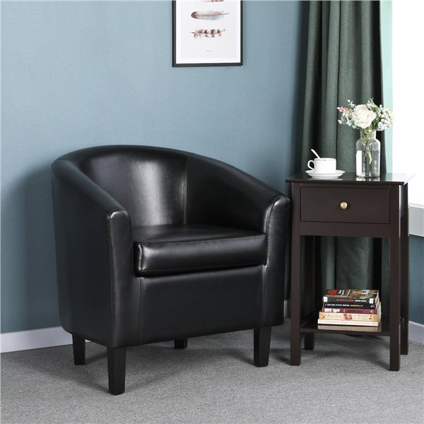 Faux Leather Barrel Accent Chair