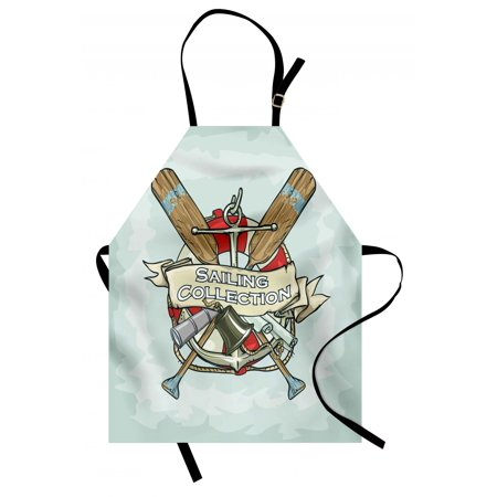 Nautical Apron Sailing Collection Yacht Antique Historical Icons Life Saver Oars, Unisex Kitchen Bib Apron with Adjustable Neck for Cooking Baking Gardening, Almond Green Multicolor, by Ambesonne ()
