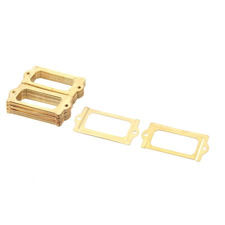 Post Office File Drawer Card Holder Tag Label Frame Gold Tone 70 X 33Mm 30Pcs