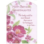 Designer Greetings Pink Flowers with Glitter Z Fold: Granddaughter Birthday Card