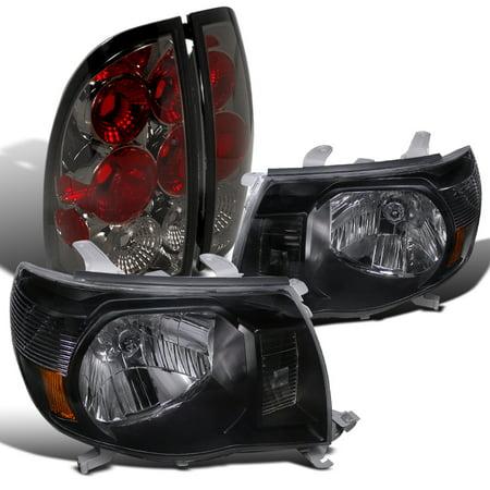 Lights Jdm Black Housing - Spec-D Tuning For 2005-2008 Toyota Tacoma Jdm Black Crystal Headlight + Smoke Rear Tail Lamp (Left + Right)