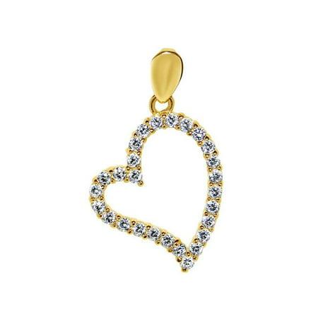 Precious Stars Jewelry 14k Yellow Gold Cubic Zirconia Open Heart Pendant - image 1 of 1