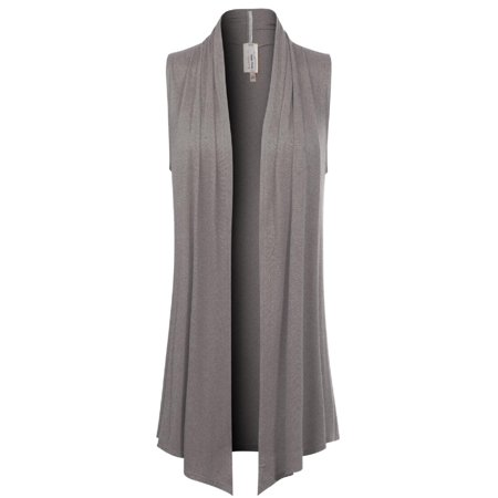 Made by Olivia Women's [Made in USA] Open Front Draped Waterfall Sleeveless Shawl Cardigan Vest (S-3XL) Heather Grey (Satin Shawl Vest)