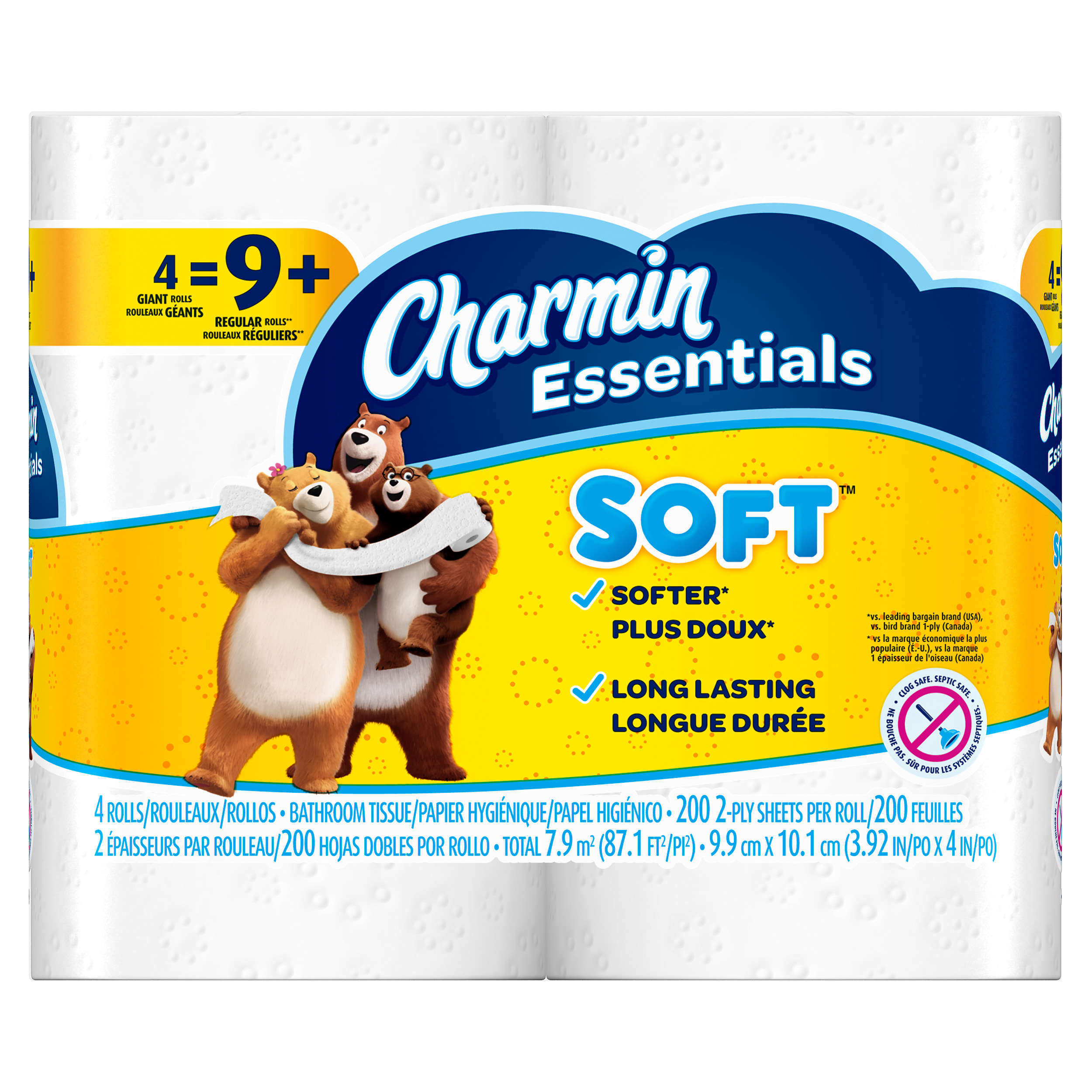 Charmin Essentials Toilet Paper, Soft, 4 Giant Rolls