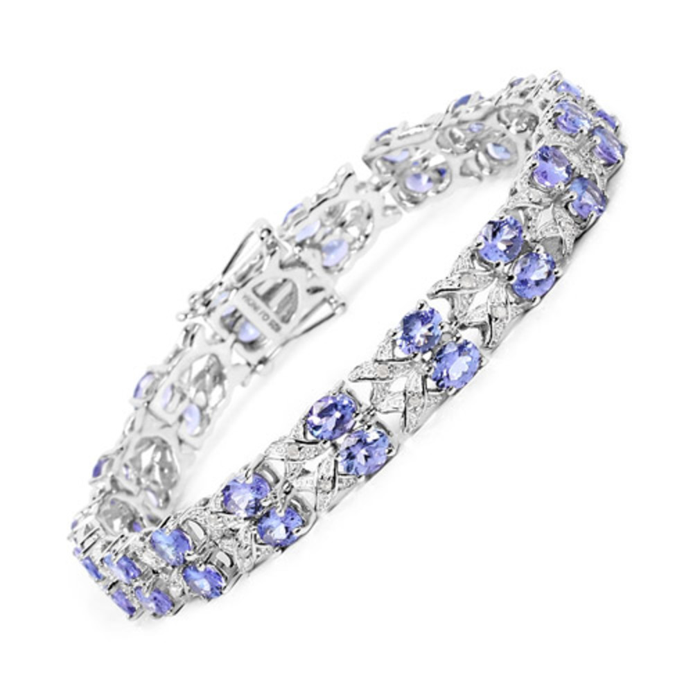 Genuine Oval Tanzanite and White Topaz Bracelet in Sterling Silver by Bonyak Jewelry