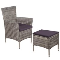 WALFRONT Outdoor Chair and Stool with Cushions Poly Rattan Gray