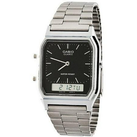 AQ-230A-1D Silver & Black Dual Time Watch - Silver / Silver Digit / Black / One Size